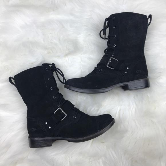 3b3a383da5b Ugg Marela Black Suede Combat Lace Up Boots size 9